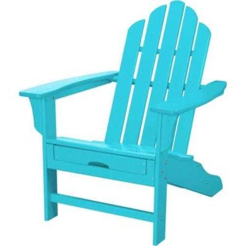 Hanover All-Weather Adirondack Chair w/Attached Ottoman - Aruba Blue