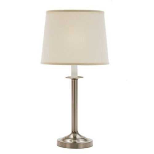 Fangio Lighting Table Lamp in Brushed Steel with Cream Fabric Drum Shade