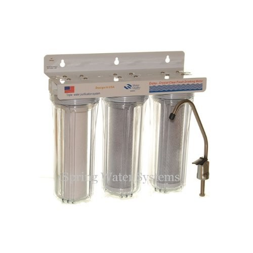 iSpring WCC31 3-Stage Under Sink High Capacity Tankless Drinking Water Filtration System - Includes Sediment Filter and 2x CTO Carbon Block Filters