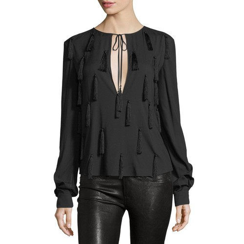 SAINT LAURENT Tassel Tie-Neck Blouse