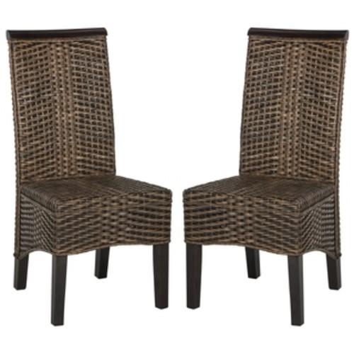 Safavieh Ilya Grey Wicker Dining Chairs (Set of 2)