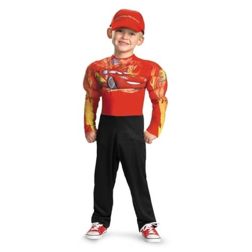 Disguise Disney Cars 2 Lightning McQueen Classic Muscle Toddler/Child Costume - Red - child (7-8)