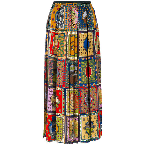 GUCCI Scarf Patchwork Pleated Skirt