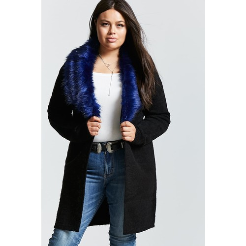 Plus Size Faux Fur-Trim Cardigan