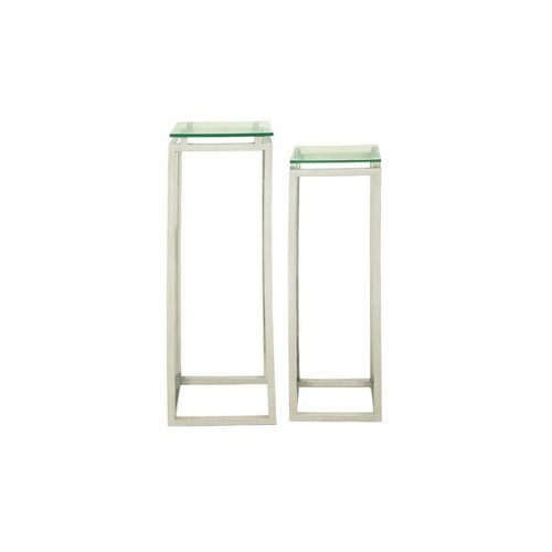 Studio 350 Coffee, Console, Sofa & End Tables Stainless Steel Glass Pedestal (Set of 2)
