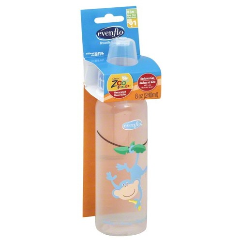 Evenflo Classic Zoo Friends Bottle, Slow Flow, Decorated, 8 oz, 1 (0-3 M), 1 bottle