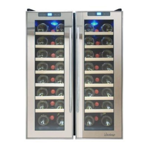 Vinotemp 23.5 in. 48-Bottle Dual Zone Thermoelectric Mirrored Wine Cooler