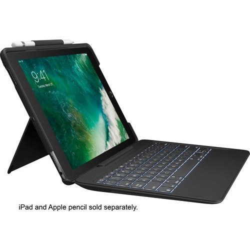 Logitech - Slim Combo Keyboard Folio Case for Apple 10.5-Inch Ipad Pro - Black