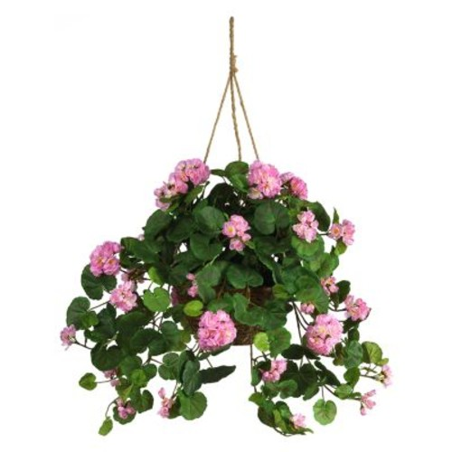 Nearly Natural Geranium Hanging Basket, Pink