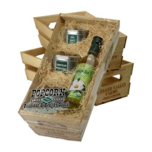 Organic Popcorn Popping Wooden Crate Gift Set