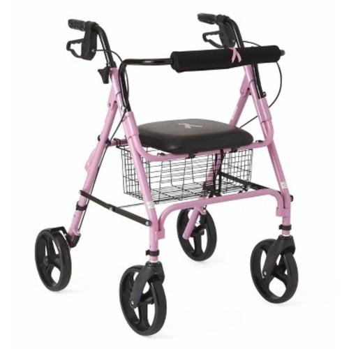 Medline Folding Walker Rollator with 8 inch Wheels - Breast Cancer Awareness