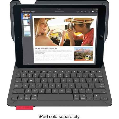 Logitech - Type+ Bluetooth Keyboard Case for Apple iPad Air 2 - Black