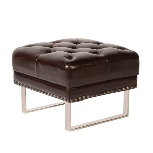 Lazzaro Leather Bordeaux Ottoman