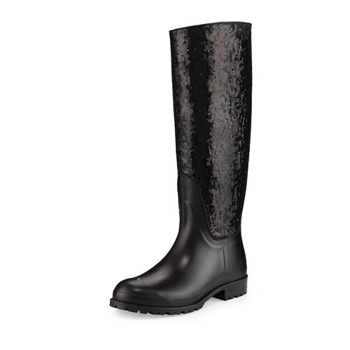 SAINT LAURENT Sequined Rubber Rain Boot, Noir