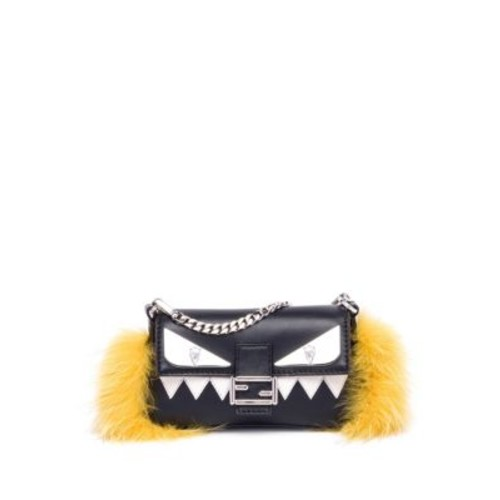 FENDI Monster Leather, Fox Fur & Mink Fur Micro Baguette