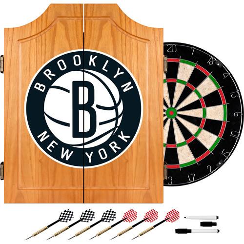 NBA Brooklyn Nets Wood Dart Cabinet Set