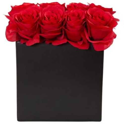 Nearly Natural Roses Arrangement in Black Vase (1510-RD)