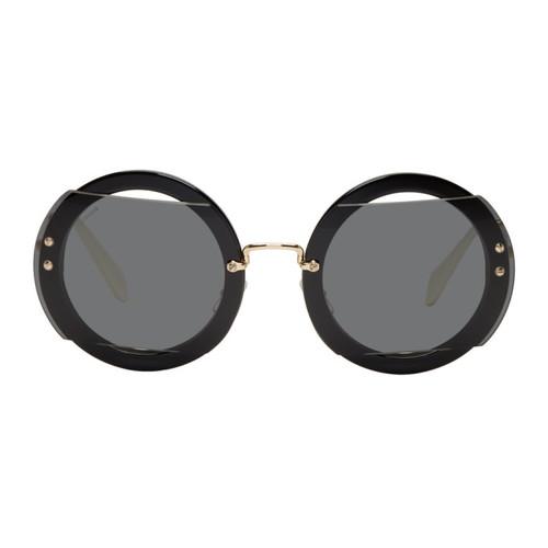 MIU MIU Black & Gold Oversized Round Sunglasses