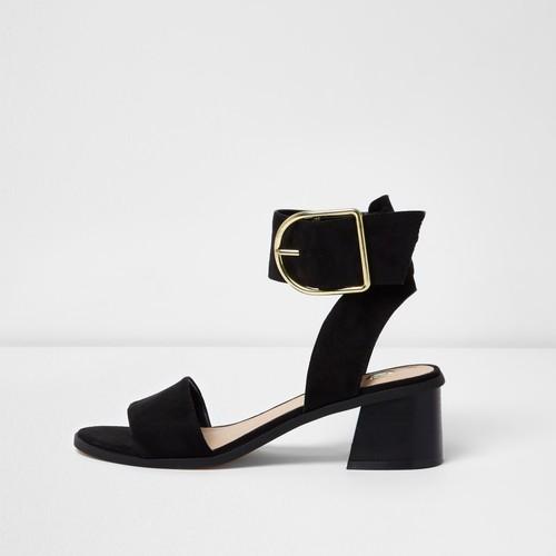 Black oversized buckle sandals