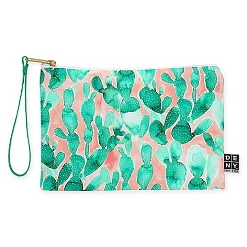 Deny Designs Jacqueline Maldonado Paddle Cactus Blush Small Pouch in Green