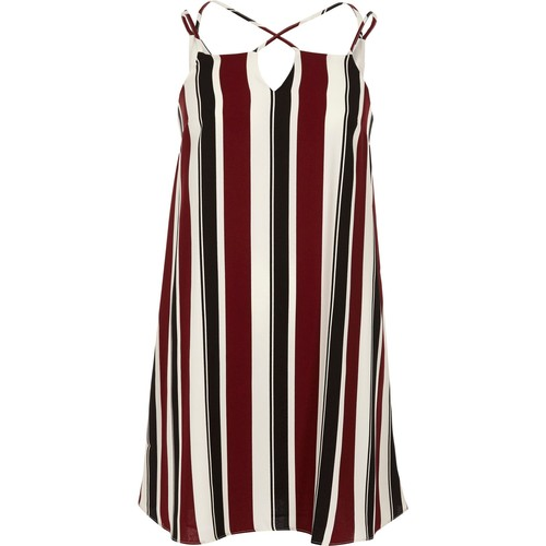 Red stripe cross strap slip dress