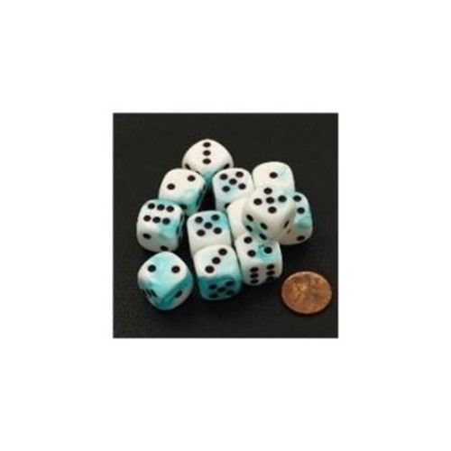 Chessex Manufacturing 26644 D6 Cube Gemini Set Of 12 Dice, 16 mm - White & Teal With Black Numbering
