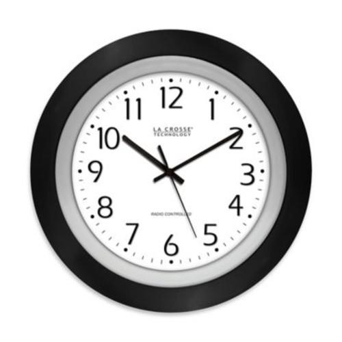 La Crosse Technology 10-Inch Atomic Analog Wall Clock in Black