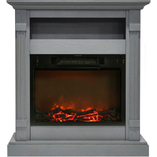 Cambridge Sienna 34 in. Electric Fireplace w/ 1500W Log Insert Mantel, Gray