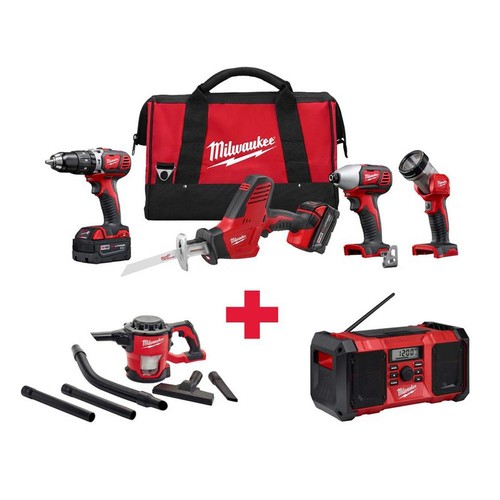 Milwaukee M18 18-Volt Lithium-Ion Cordless Combo Kit (4-Tool) with Free M18 Vacuum and M18 Radio