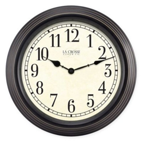 La Crosse Technology Weathered Wall Clock in Black