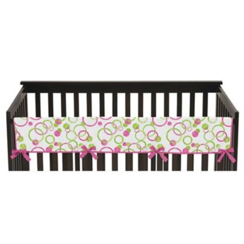 Sweet Jojo Designs Mod Circles Long Crib Rail Guard Cover in Hot Pink/White