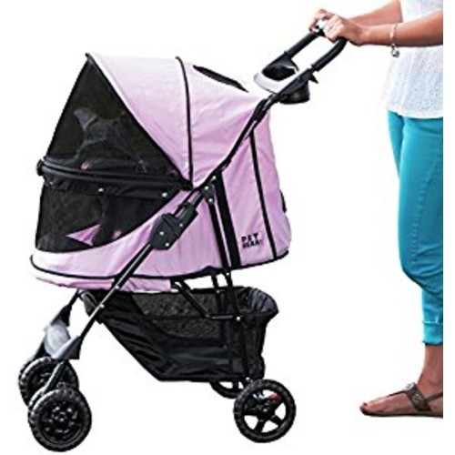 Pet Gear No-Zip Happy Trails Pet Stroller for Cats/Dogs, Zipperless Entry, Easy Fold with Removable Liner, Storage Basket + Cup Holder