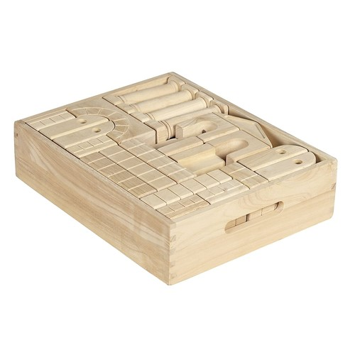 ECR4Kids Hardwood Building Blocks with Wooden Storage Tray (48-Piece)