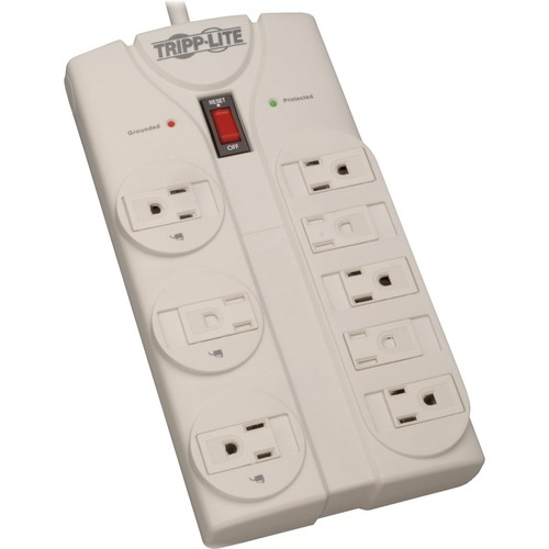 Tripp Lite 8 Outlet Surge Protector Power Strip, 8ft Cord Right Angle Plug, LIFETIME INSURANCE & $75K INSURANCE (TLP808)