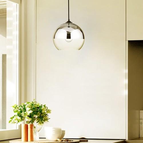 Luna Antique Black Single Light Chrome Finish Glass Globe Pendant Chandelier