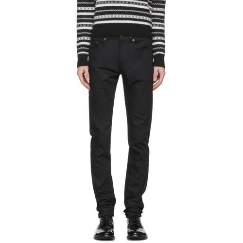 Black Raw Denim Skinny Jeans