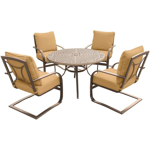 Hanover 5-Piece Outdoor Dining Set with Round Cast-Top Table and Aluminum Spring Chairs with Desert Sunset Cushions
