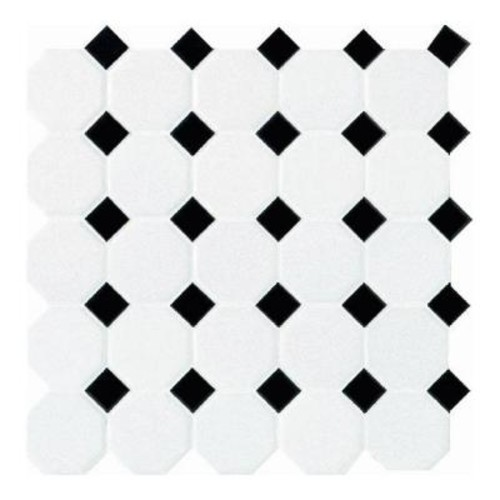 Daltile Matte White with Black Dot 12 in. x 12 in. x 6 mm Ceramic Octagon/Dot Mosaic Tile (10 sq. ft. / case)