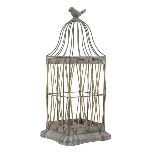 Stonebriar Collection 14 in. Iron Vintage Zinc Bird Cage Lantern