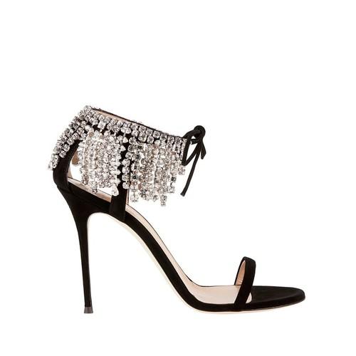 GIUSEPPE ZANOTTI Mistico Crystal Peep-Toe Suede Sandals