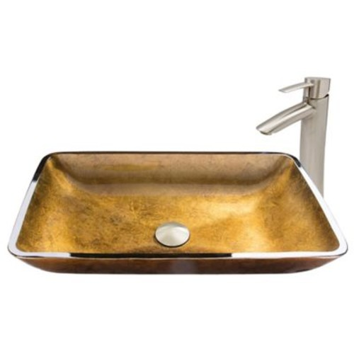 Vigo Copper Glass Rectangular Vessel Sink and Shadow Faucet Set in Brushed Nickel
