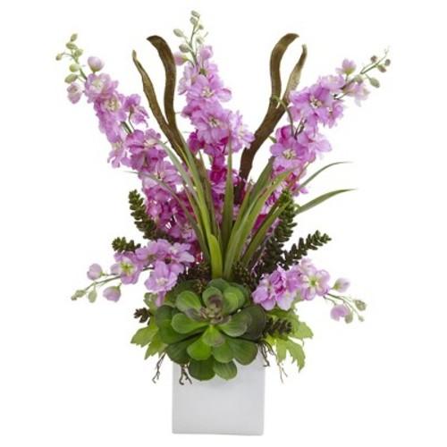 Delphinium and Succulent Arrangement Purple - Nearly Natural