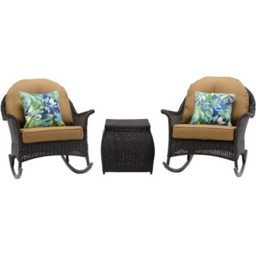 Hanover San Marino 3-Piece All-Weather Wicker Patio Rocker Seating Set with Country Cork Cushions