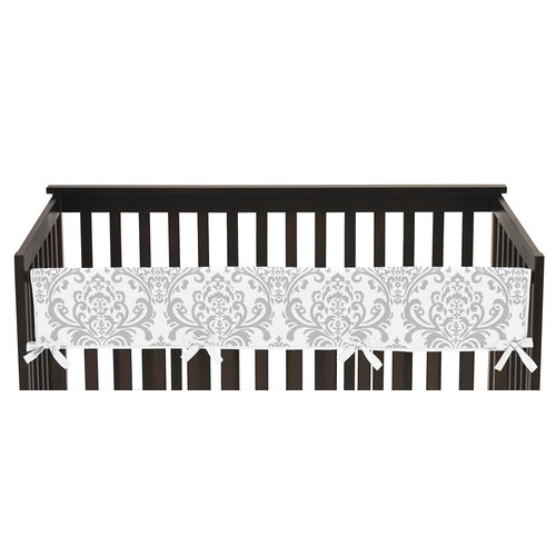 Sweet Jojo Designs Long Crib Rail Guard Cover for Pink and Gray Elizabeth Collection by - Damask Print
