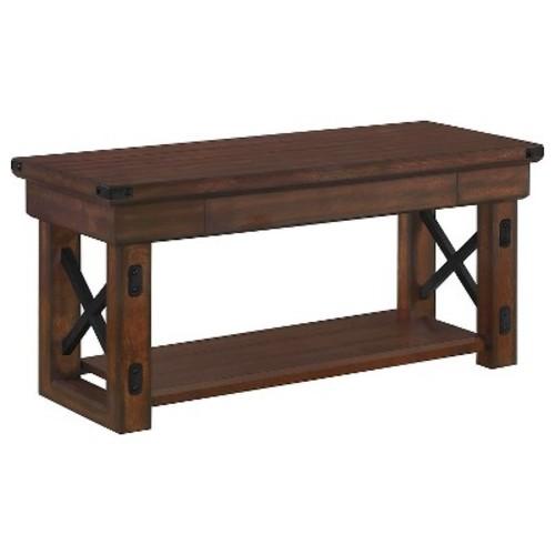 Wildwood Mahogany Wood Veneer Entryway Bench