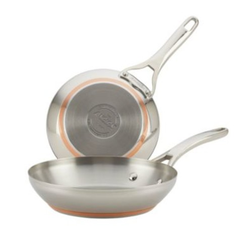 Anolon Nouvelle Copper Stainless Steel Twin Pack French Skillets