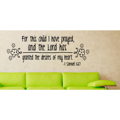Writing Prayed For This Child Wall Art Sticker Decal