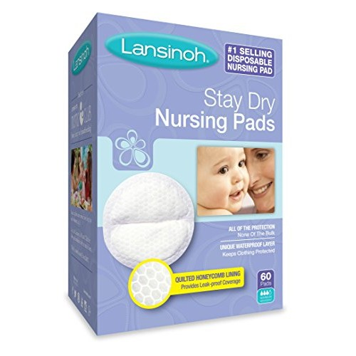 Lansinoh Stay Dry Disposable Nursing Pads, Number One Selling Breastfeeding Pad For Breastfeeding Mothers, Leak Proof Protection, Maximum Comfort and Discretion, 60 Count [60 Count]