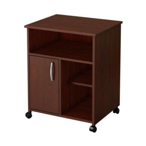 South Shore Axess Microwave Cart with Storage on Wheels, Royal Cherry
