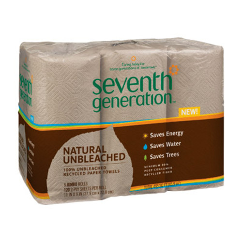 Seventh Generation Recycled Paper Towel Rolls, 2-Ply, Brown, 120 sheets, 4 Rolls/Pack, 6 Packs/Case